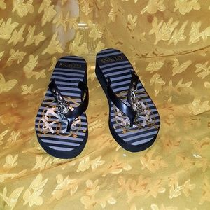 Black Striped Charm Wedge Flip Flops by Guess 8/9